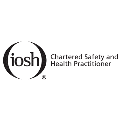 iosh chartered safety and health practitioner logo, black text, white background