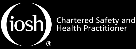 iosh chartered safety and health practitioner logo, white text, blacl background